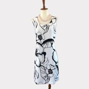 Ann Taylor Black & White Floral Print Shift Dress
